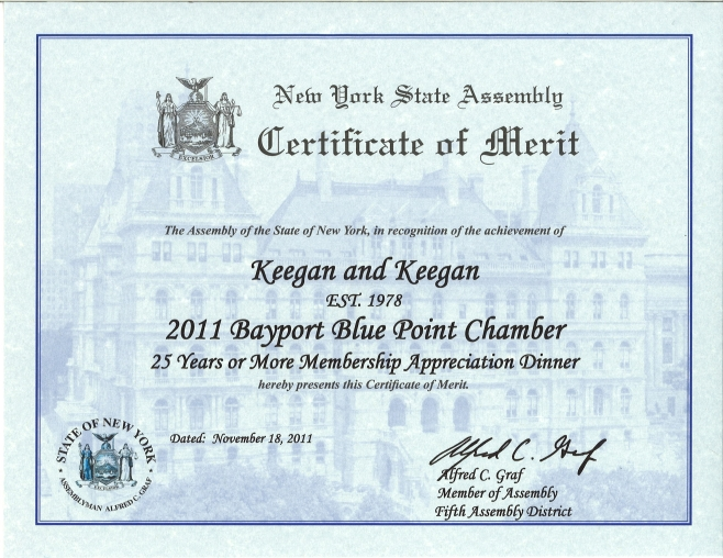 Certificate of Merit Awarded by New York State Assembly Keegan – Merit Certificate Comments