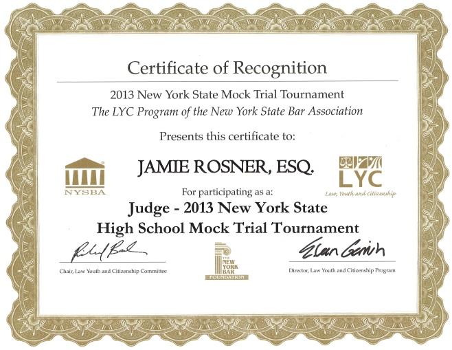 Jamie Rosner 2013 Mock Trial Certificate