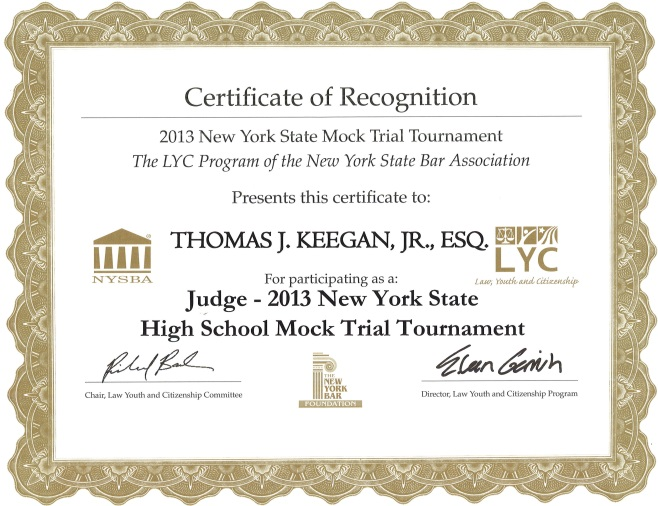 Thomas Keegan Mock Trial Certificate 2013