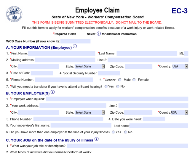 Workers Compensation Employee Claim Form