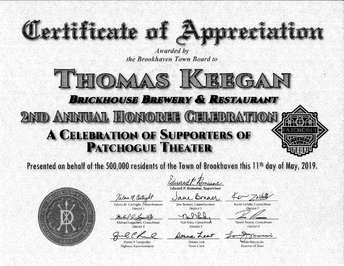 Brookhaven Town Certificate of Appreciation